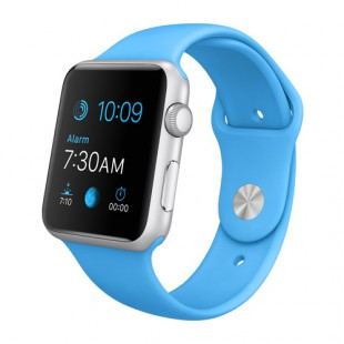 Apple Watch Sport 42mm Silver Aluminum Case with Blue Sport Band MJ3Q2 Новый