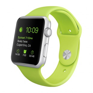 Apple Watch Sport 42mm Silver Aluminum Case with Green Sport Band MJ3P2 Новый
