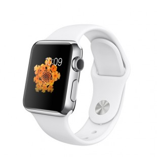 Apple Watch 38mm Stainless Steel Case with White Sport Band MJ302 Новый