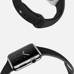 Apple Watch 38mm Stainless Steel Case with Black Sport Band MJ2Y2 Новий