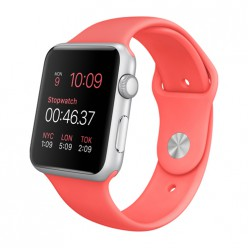 Apple Watch Sport 42mm Silver Aluminum Case with Pink Sport Band MJ3R2 Новый
