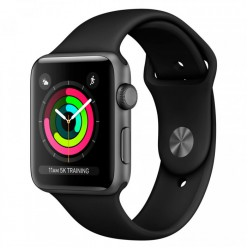 Apple Watch Series 3 42mm GPS Space Gray Aluminum Case with Black Sport Band (MQL12)