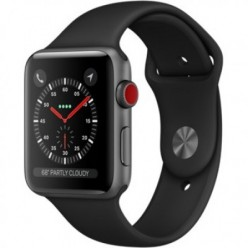 Apple Watch Series 3 (GPS + Cellular) 42mm Space Gray Aluminum w. Black Sport B. (MQK22)